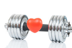 Glossy chromed dumbbell with toy heart in front of it as symbol of healthy heart - studio shot Stock Image