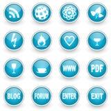 Glossy circle web icons set Stock Photography