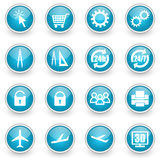 Glossy circle web icons set. On white background Stock Images