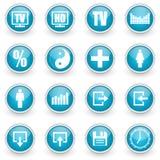 Glossy circle web icons set. On white background stock illustration