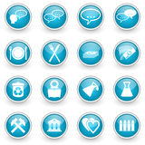Glossy circle web icons set. On white background Stock Image