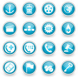 Glossy circle web icons set. On white background royalty free illustration