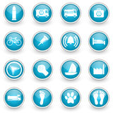 Glossy circle web icons set. On white background vector illustration