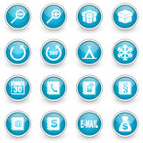 Glossy circle web icons set. On white background Royalty Free Stock Image