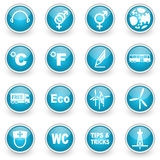 Glossy circle web icons set Royalty Free Stock Images