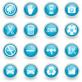 Glossy circle web icons set. On white background stock illustration