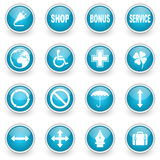 Glossy circle web icons set Stock Photo