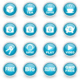 Glossy circle web icons set Stock Photos
