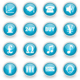 Glossy circle web icons set Royalty Free Stock Photos