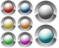 Glossy circular buttons Royalty Free Stock Images