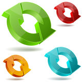 Glossy circulating 3D arrows. Icons of glossy circulating 3D arrows Stock Photos