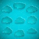 Glossy cloud storage vector icon set Royalty Free Stock Photos
