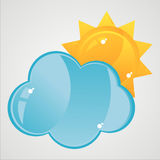Glossy cloud with sun icon Royalty Free Stock Photo