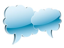 Glossy clouds. 3D icons of two glossy clouds isolated on white Royalty Free Stock Photos