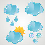Glossy Clouds Icons Stock Photos