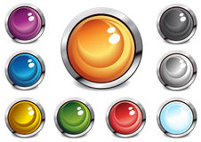 Glossy color buttons stock illustration