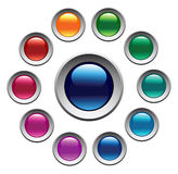 Glossy color buttons set. Stock Photos