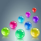 Glossy colored balls with reflection Stock Photo