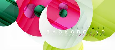 Glossy colorful circles abstract background, modern geometric design. Vector stock illustration