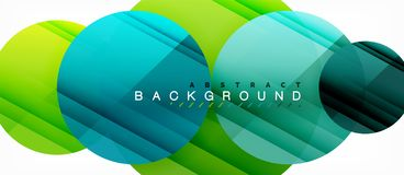 Glossy colorful circles abstract background, modern geometric design. Vector royalty free illustration
