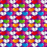 Glossy colorful hearts seamless pattern. Vector illustration Stock Photo