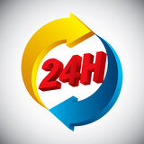 24 hours icon. Glossy and colorful 24 hours icon royalty free illustration