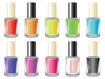 Nail Polish Bottle. Glossy colorful nail polish, lacquer in a glass bottle Royalty Free Stock Photos