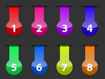 Glossy colorful numbered web interface elements Stock Photo