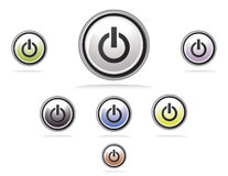 Glossy colorful power button Royalty Free Stock Photos