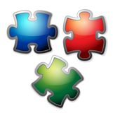 Glossy colorful puzzle set Stock Image