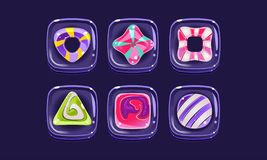Glossy colorful shapes set, square candy blocks, assets for user interface GUI for mobile apps or video games vector. Illustration, web design stock illustration