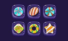 Glossy colorful shapes set, sweet square candy blocks, assets for user interface GUI for mobile apps or video games. Vector Illustration, web design vector illustration