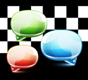 Glossy colorful speech bubbles Stock Images