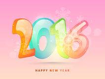 Glossy colorful text for Happy New Year 2016. Glossy colorful text 2016 with snowflakes on pink background for Happy New Year celebration stock illustration