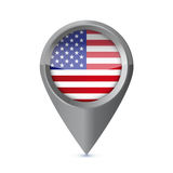 Glossy colorful USA map application point symbol Stock Images