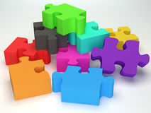 Glossy colourfull  jigsaw Stock Photo