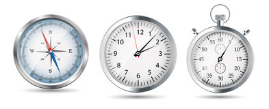Glossy Compass, watch and stopwatch set. Vector Stock Photography