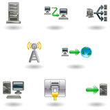 Glossy Computer Network Icon Set Royalty Free Stock Image