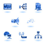 Glossy Computer Network Icon Set Stock Photos
