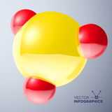 Glossy connected 3D balls with reflections. Glossy connected 3D red and yellow balls molecule sign with reflections Vector Illustration