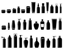 Glossy cosmetic bottle set Royalty Free Stock Images