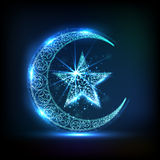 Glossy crescent moon with star for Eid celebration. Royalty Free Stock Photo