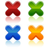 Glossy Crosses. A set of four glosses crosses. Reflections placed on separate layer Royalty Free Stock Photo