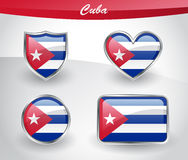 Glossy Cuba flag icon set Stock Images