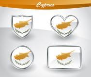 Glossy Cyprus flag icon set Stock Photos