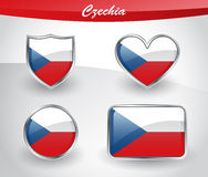 Glossy Czechia flag icon set Royalty Free Stock Images