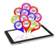 Glossy 3D collection of domain pins on tablet. Isolated Stock Photos