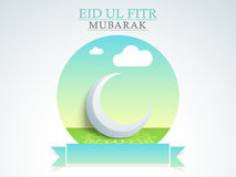 Glossy 3D moon for Eid festival celebration. Glossy 3D moon on floral design decorated green background with blank ribbon for your message, can be used as Stock Photos