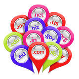 Glossy 3D set of domain pin-pointers Royalty Free Stock Image