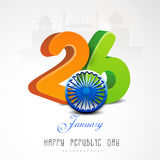 Glossy 3D text  with Ashoka Wheel for Happy Indian Republic Day celebrations. Glossy 3D text of 26 January with Ashoka Wheel for Happy Indian Republic Day Stock Photo